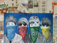 """Beatles Banditos - Blue"" - handsignierter Siebdruck & Mixed Media von Mr. Brainwash"