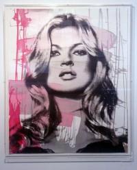 """""""Kate Moss - Pink"""" Original Acrylbild (gerahmt) von Mr. Brainwash"""