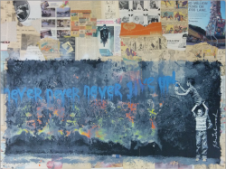 """Never Never Give Up"" von Hand veredelter Mixed Media Siebdruck von Mr. Brainwash"