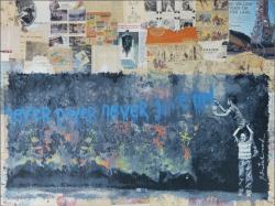 """""""Never Never Give Up"""" von Hand veredelter Mixed Media Siebdruck von Mr. Brainwash"""