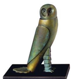 """Bronzeskulptur """"Kleine Eule"""" von Paul Wunderlich"""