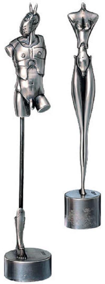 """Skulpturengruppe """"Königliches Paar"""" (Bronze versilbert) von Paul Wunderlich"""