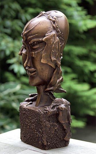 """Bronzeskulptur """"Frauenköpfchen"""" von Paul Wunderlich"""