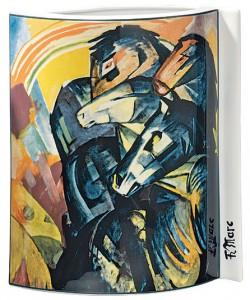 """Porzellanvase """"Turm der blauen Pferde"""" (1913), Motiv von Franz Marc"""