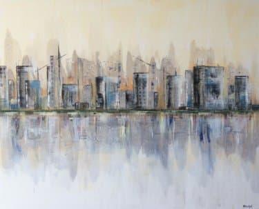 """The City"" - Acrylgemälde von Rachel Keens"