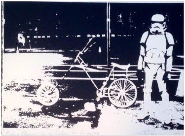 """Spacechopper in a Galaxy far far away"" von Trafford Parsons, limitierter Siebdruck"