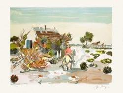"""""""La Cabane Gardiane"""" - Limitierte Lithografie von Yves Brayer"""
